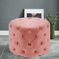 Chesterfield Large Buttoned Tufted Velvet Ottoman Stool, Pink 40CM