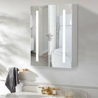 LED Bathroom Mirror Cabinet Illuminated 500x700mm with Touch Sensor Clock Shaver Socket