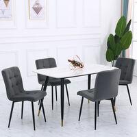 Set of 4 Matte Velvet Padded Dining Chairs, Dark Grey