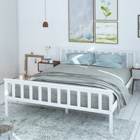 Wooden Bed Frame Pine Wood Bedstead, White Double 4.6FT