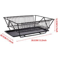 Black Dish Drainer Rack with Drip Tray Cutlery Holder Plate Rack Kitchen Sink