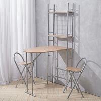 Folding Kitchen Breakfast Bar Dining Table + 2 Stool Chair Set W/ Storage Shelf , Brown