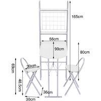 Folding Kitchen Breakfast Bar Dining Table + 2 Stool Chair Set W/ Storage Shelf , White