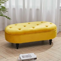 Yellow Velvet Oval Buttoned Footstool With 4 Wood Legs 100x48x35cm