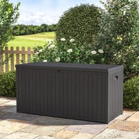 430L Outdoor Garden Storage Box Plastic Chest Trunk Cushions Tools Container Black