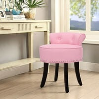 PU Leather Vanity Dressing Table Stool Makeup Piano Chair Living Dining Room Bedroom Seat Pink