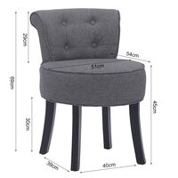 Linen Padded Vanity Stool Small Dining Chair Dressing Table Seat , Dark Grey