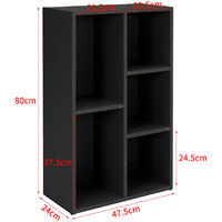 5 Cube Bookcase Shelving Unit Storage Display Cabinet Book Shelf Cupboard, Black