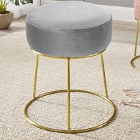 Grey Velvet Footstool Pouffe Makeup Dressing Table Stool Seat Chair Footrest