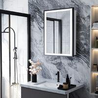 LED Illuminated Bathroom Touch Sensor Mirror Cabinet Black Frame 500(W)*700(H)*135(D)mm
