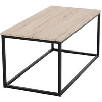 Wooden Coffee Table Side/Central End Table Low Tea Stand Holder with Metal Frame