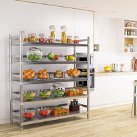 Stainless Steel Kitchen Shelving Shelf 5 Tier Commercial Catering Standing Storage Unit, 150x50x170cm