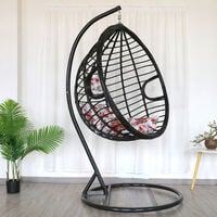 Hanging Egg Chair Rattan Outdoor Indoor Patio Garden Swing Chairs With Cushion - Black