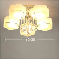 LED Crystal Ceiling Light Flower Chandelier Lamp With Remote, 5 Way