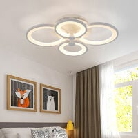 Round LED Dimmable Chandelier Ceiling Light With Remote, 4 Head