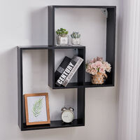 2-Cube Square Wall Floating Wooden Storage Shelves, Black