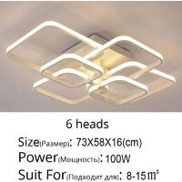 Square LED Dimmable Chandelier Ceiling Light With Remote, 6 Head