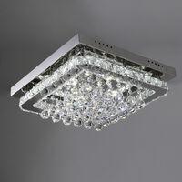 40CM Square LED Crystal Chandelier Pendant Ceiling Light, Cool White