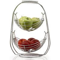 2 Tier Chrome Swinging Fruit Vegetables Bowl Baskets Rack Storage Stand Holder