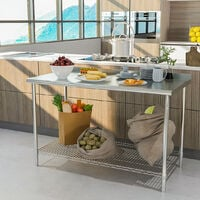 Stainless Steel Commercial Catering Kitchen Table Heavy Duty Wire Shelf Workbench With Backsplash, L120xW60xH80cm