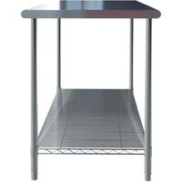 Stainless Steel Commercial Catering Kitchen Table Heavy Duty Wire Shelf Workbench Without Backsplash, L150xW60xH80cm