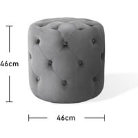 Chesterfield Round Buttoned Tufted Velvet Ottoman Stool, Grey