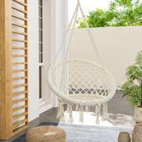 Tassel hanging chair - garden swing seat, hanging egg chair, garden swing chair - beige