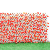 Garden Artificial Hedge Leaf Expanding Privacy Screening Fence, Red Maple 90x180CM