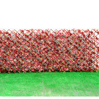 Garden Artificial Hedge Leaf Expanding Privacy Screening Fence, Red Leaf 120x180CM