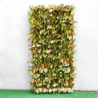 Garden Artificial Hedge Leaf Expanding Privacy Screening Fence, Red Perilla 90x180CM