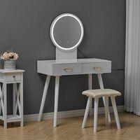 Dressing Table Set Cushioned Stool Mirror LED Drawer Bedroom Makeup Desk