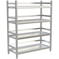 Stainless Steel Kitchen Shelving Shelf 4 Tier Commercial Catering Standing Storage Unit, 120x50x150cm