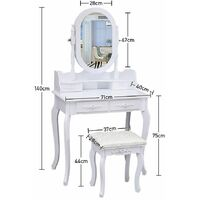 Dressing Table 4-Drawer Makeup Dresser Set with Stool Oval Mirror, White