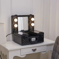Makeup Cosmetic Travel Suitcase Table LED Lighted Mirror, Black