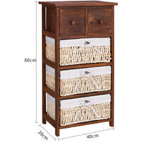 Brown Wood Chest of Drawers Cabinet with Wicker Baskets Storage Sideboard