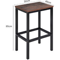 Set of 2 Counter Stools Kitchen Breakfast Chairs Seat Industrial Wooden