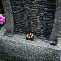 Vertical Slate Solar Water Fountain Feature with 6 LED Light Falls Garden Decor