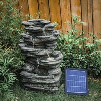 Slat Falls Woodland Water Feature Outdoor Garden LED Fountain Solar Powered