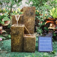 Solar Powered Garden Water Feature Fountain LED Wood effect Look