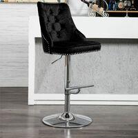 Crushed Velvet Bar Stool Gas Lift Breakfast Kitchen Pub Barstool Swivel Chair , Black
