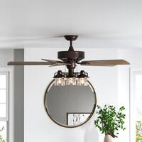 """52"""" Retro Ceiling Fan Light with Remote Control 5 Blades Brown"""