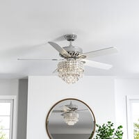 """52"""" Chrome Chandelier Ceiling Fan LED Light 5 Blades and Remote Control"""