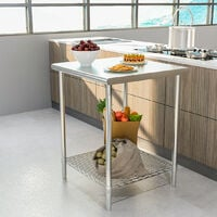 Stainless Steel Commercial Kitchen Food Prep Work Table Bench Top - 60 x 60 x 80 cm