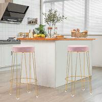 2pcs Velvet Round Breakfast Bar Stool High Seat Counter Dining Chairs Metal Legs, Pink
