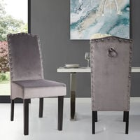 Set of 2 Velvet Dining Chair With Knocker HighBack Upholstered Kitchen Retro Seat