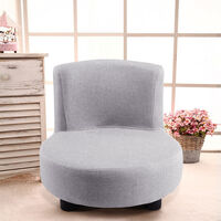Modern Small Sofa Chair Linen Fabric Padded Footstool With Black Wood Leg, Grey