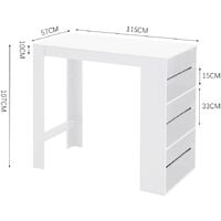 Modern Breakfast Bar Table Pub Kitchen Dining Room Furniture W/ Storage Rack, White
