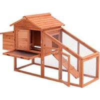 2 Tiers Wooden Chicken Hen Coop Poultry House with Nest Box, Brown