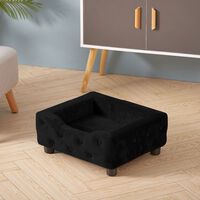 Velvet Pet Sofa Bed Dog Cat Puppy Couch Soft Cushion Basket Chair Seat Lounger, Black