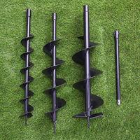 Post Hole Fence Ground Borer Bits 4''6''8'' Auger Drill Bits +Extension Pole Set